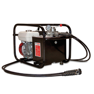 Double acting gasoline-hydraulic pump